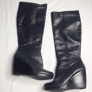 Aldo High Black Leather Wedge Zip Up Boots Size 7